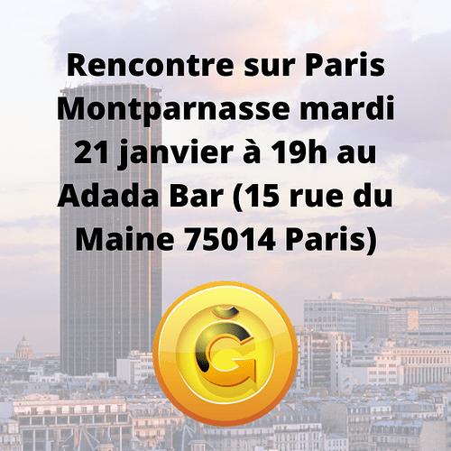 Rencontre sur Paris Montparnasse mardi 21 janvier à 19h au Adada Bar (15 rue du Maine 75014 Paris)